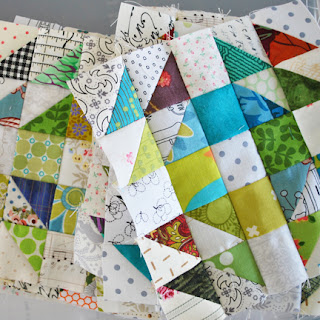 Mini Crown of Thorns quilt blocks: QuiltBee