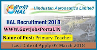 Hindustan Aeronautics Limited Recruitment 2018 – Primary Teacher, Ayah