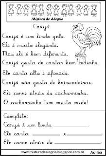 Pequenos textos para alfabetização com galo