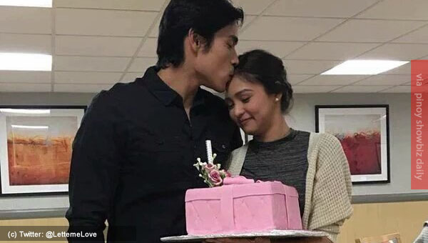 Xian Lim surprises Kim Chiu with flowers and cake on her birthday