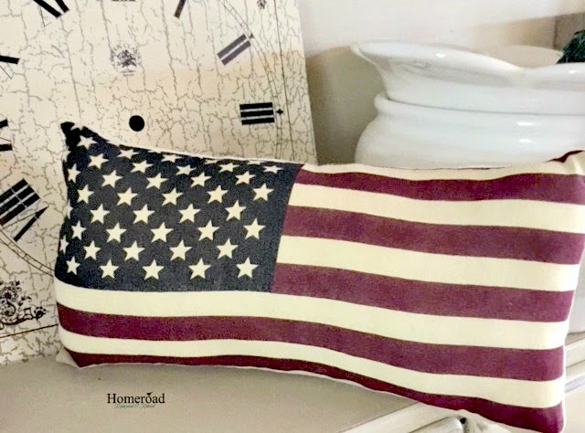flag pillows and clock