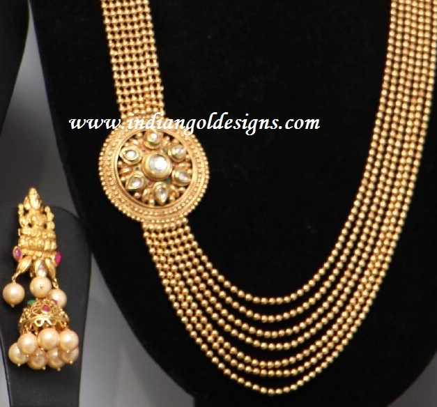 Gold and Diamond jewellery designs: gold long haar