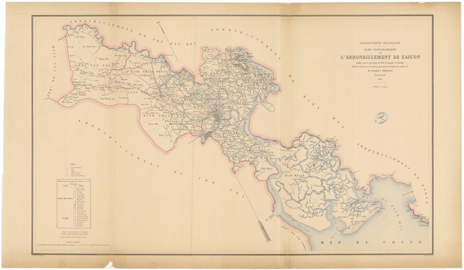 Bản đồ vùng Nam Kỳ Lục Tỉnh