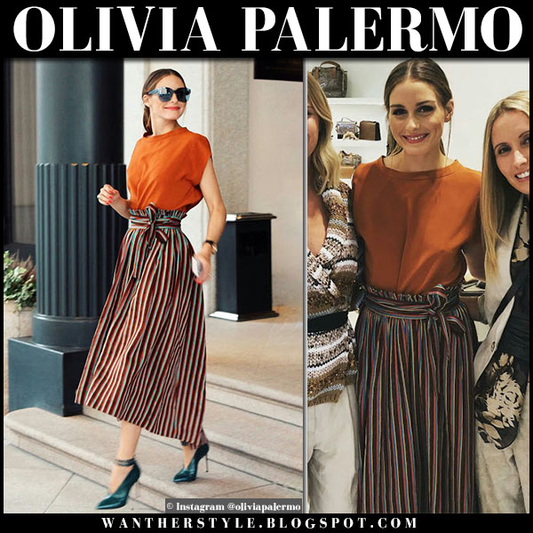 Olivia Palermo in burnt orange top and striped midi skirt aspesi fashion week style september 2018