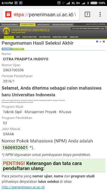 Hasil Seleksi SIMAK - Pendaftaran S2 Magister UI