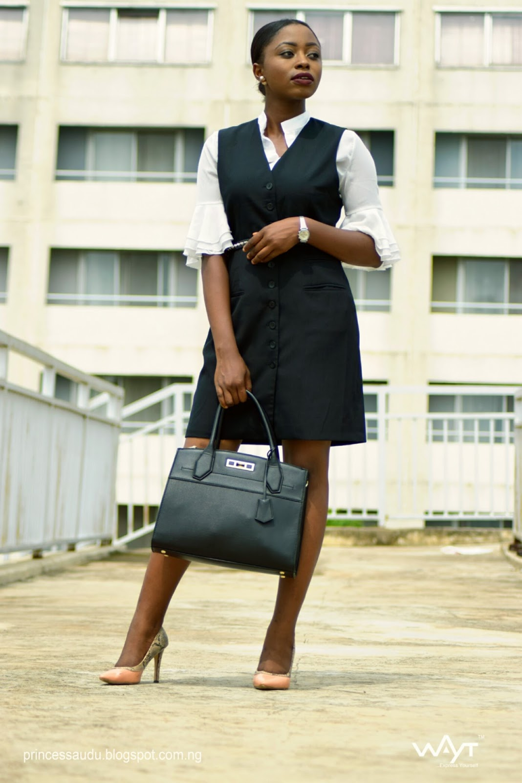blazer dress, flared sleeves, bell sleeves, white blouse, work wear. cat eye frames