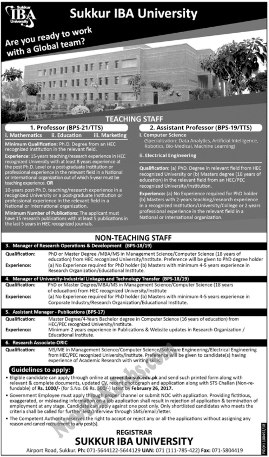 New Jobs In Sukkur IBA University, All Sindh Jobs 2018