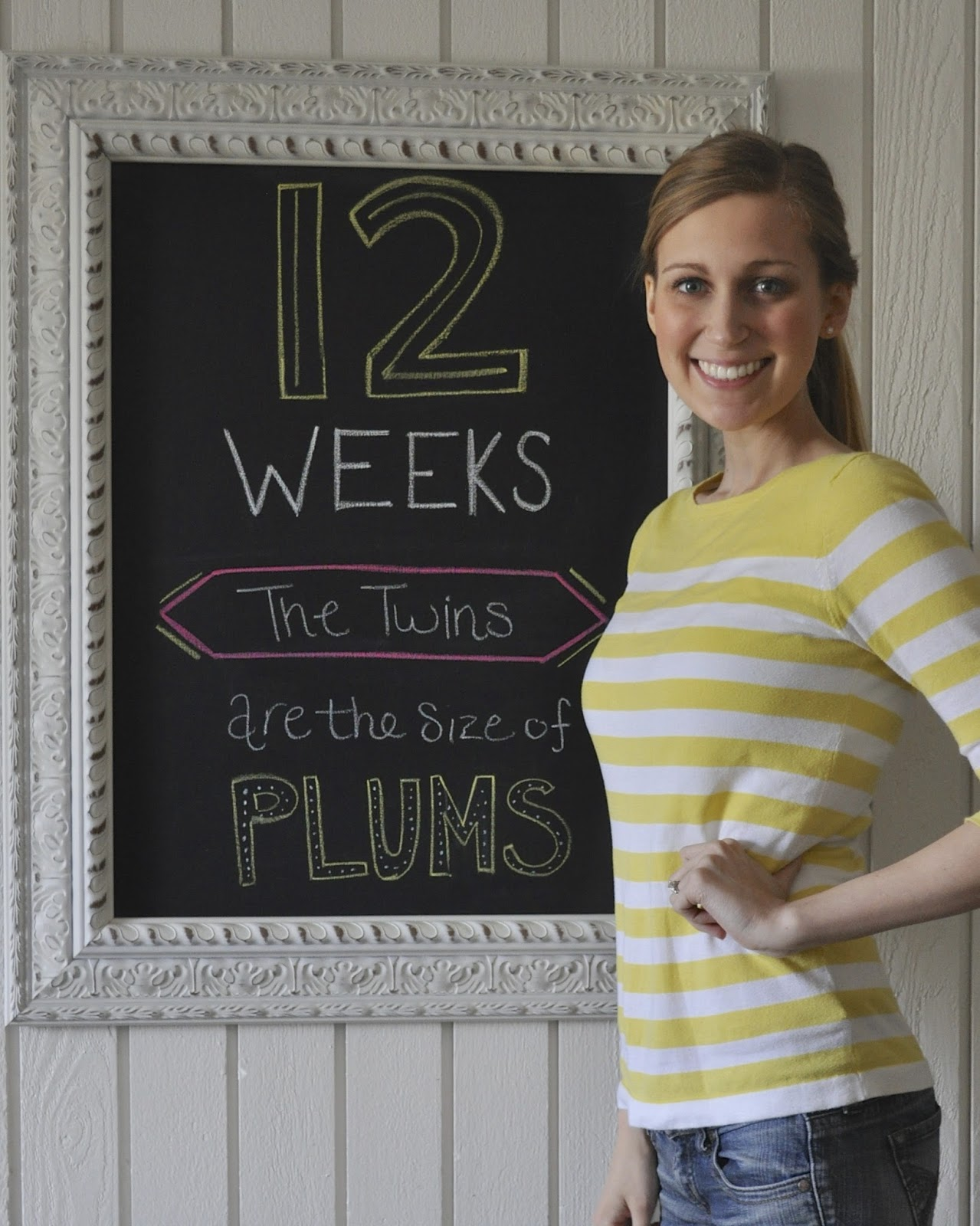 12 Weeks 4 Days Babies are the size of: Plums or apricots, whichever your  prefer. Total weight gain: Still down about 4-5lbs since pregnancy.