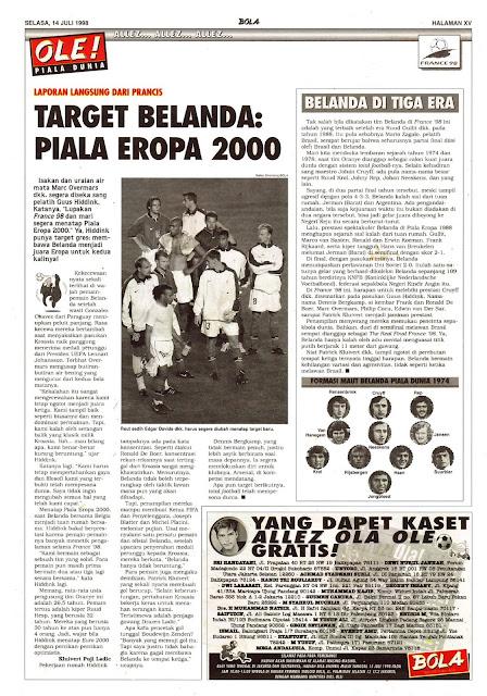 TARGET BELANDA PASCA PIALA DUNIA 1998 PIALA EROPA 2000