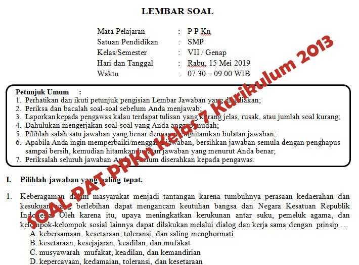 Soal Dan Kunci Jawaban Pat Ppkn Smp Kelas 7 Kurikulum 2013 Tahun