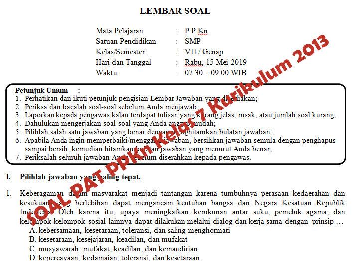 Soal Dan Kunci Jawaban Pat Ppkn Smp Kelas 7 Kurikulum 2013 Tahun Pelajaran 2018 2019 Didno76 Com