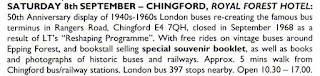 Chingford and Epping Forest, North London & Essex Transport Events 2018, 50th Anniversary of Rangers Road Bus Depot Closing, Flyer, Leaflet, Details of Event, Local Travel &etc.