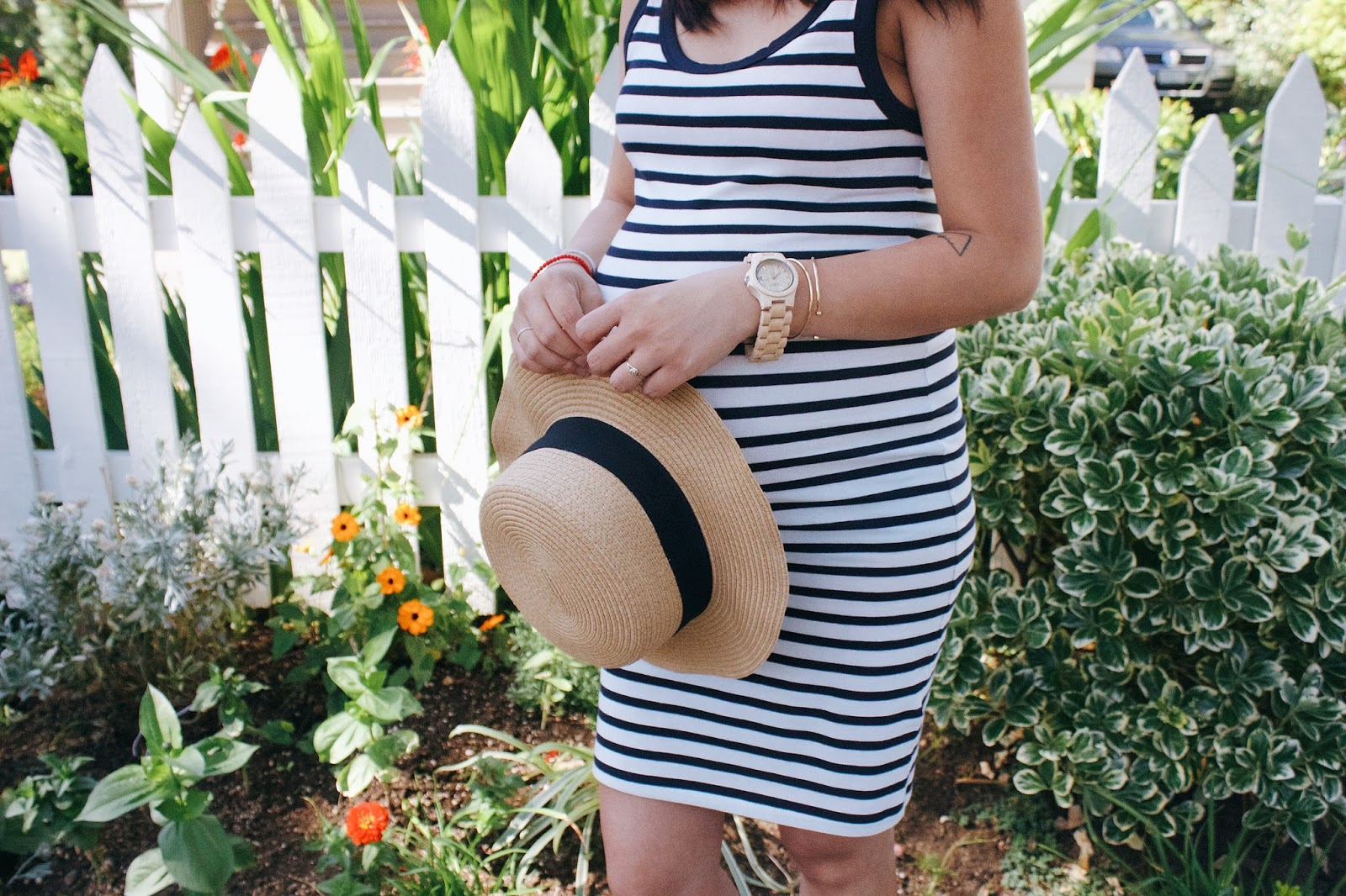 wood watches, jord wood watch, summer fashion, unique gifts, women's watches, pregnancy style, portland fashion blogger, blue and white striped dress, the p. town girls