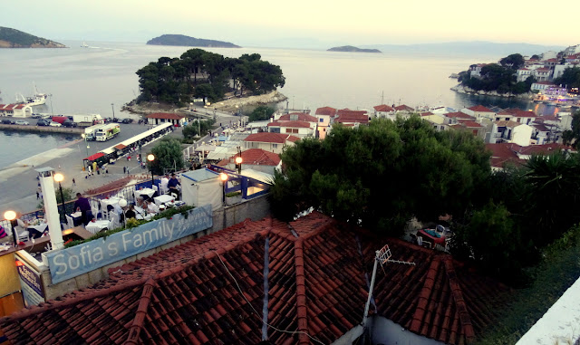 View to Bourtzi Peninsula and the New Port in Skiathos