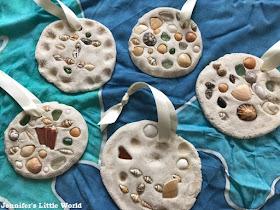 Salt dough shell mosaic craft