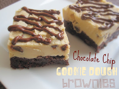 Chocolate Chip Cookie Dough Brownies start with a rich, chocolatey brownie base that is topped with a thick layer of eggless cookie dough and a chocolate drizzle. Life-in-the-Lofthouse.com