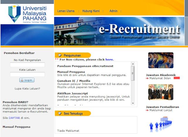 Rasmi - Jawatan Kosong (UMP) Universiti Malaysia Pahang 2019