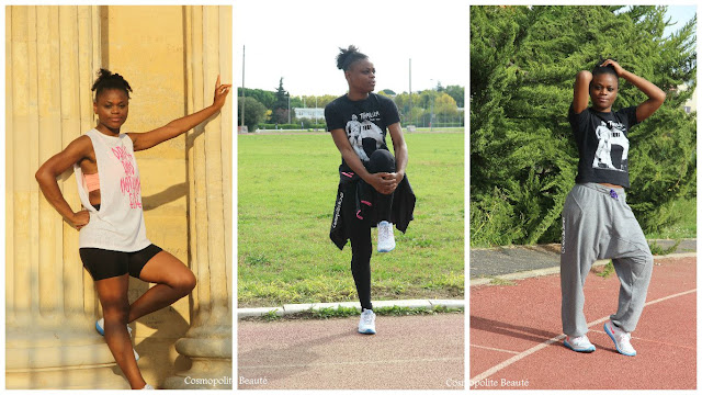 cosmopolite beauté, cosmopolitan beauty, sport, tenue de sport, fitness, fitness outfit, sarouel, dancehall, running, legging mixa, femme noire sportive