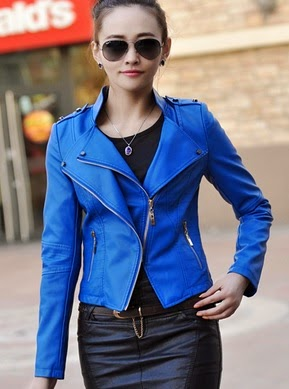 Jaket Kulit Wanita Warna Biru Online