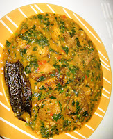 Fluted pumpkin in ogbono soup