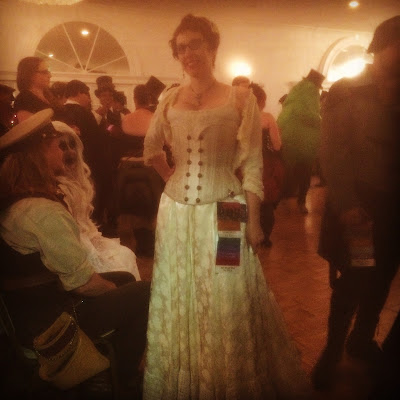 Gail Carriger Steampunk Cream Brocade and Lace At Gaslight Gathering