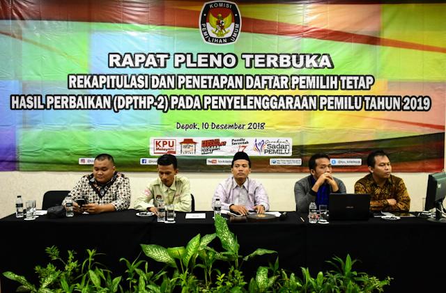 KPU Depok Tetapkan DPT Pemilu 2019 Sebanyak 1,3 Pemilih