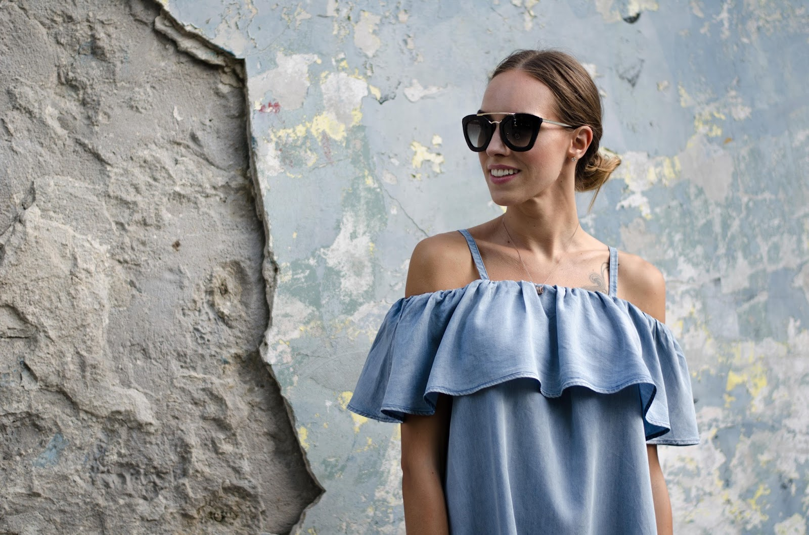 blue off shoulder dress with ruffle