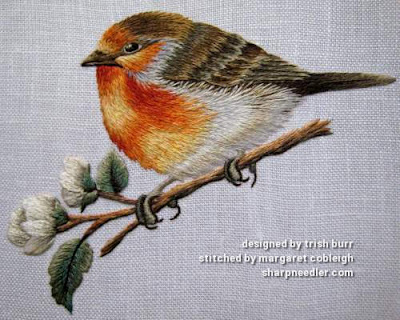 Thread painted embroidered robin complete. (Robin by Trish Burr (Inspirations))