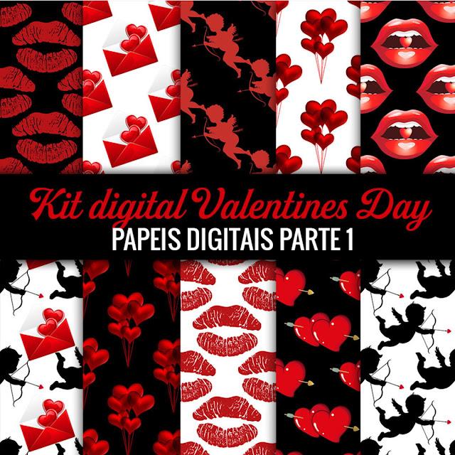Kit de papeis digitais dia das namorados