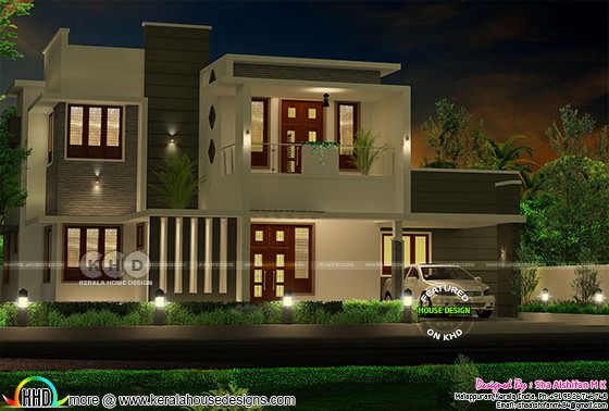 Night view of contemporary 4 bedroom Kerala home design