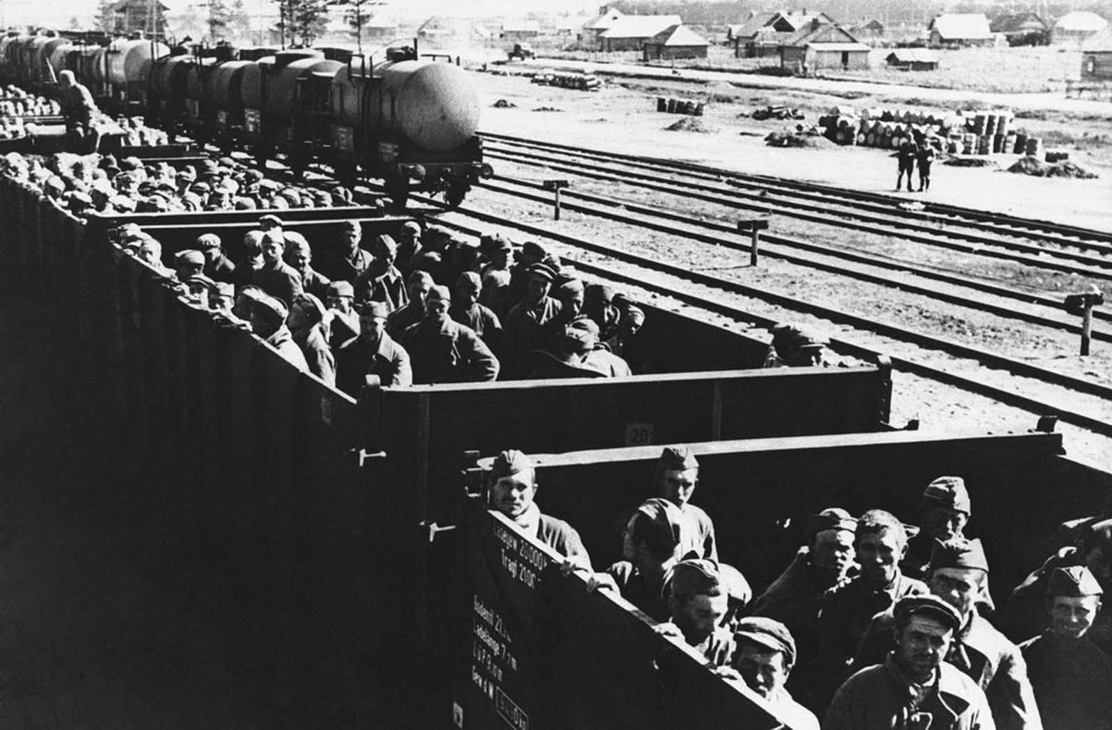 This trainload of men was described by German sources as Soviet prisoners en route to Germany, on October 3, 1941. Several million Soviet soldiers were eventually sent to German prison camps, the majority of whom never returned alive.