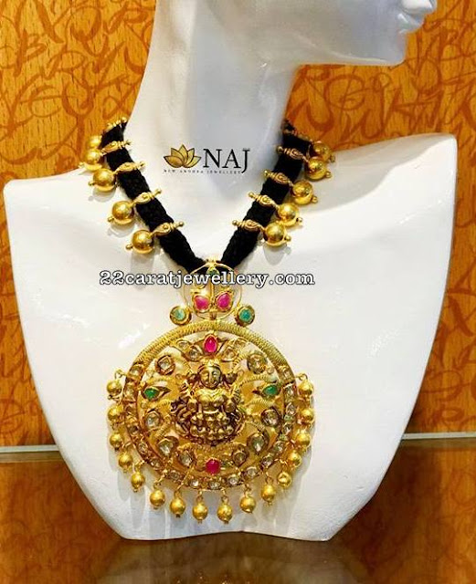 Black Dori Set with Lakshmi Devi Pendant