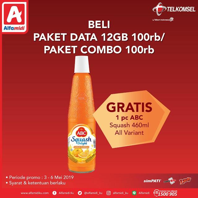 #Alfamidi - #Promo Beli Paket Data 12GB Atau Paket Combo Gratis 1 ABC Squash (s.d 06 Mei 2019)