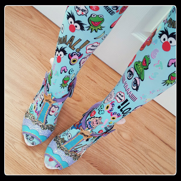 wearing Irregular Choice Disney Muppets tights and Miss Piggy shoes