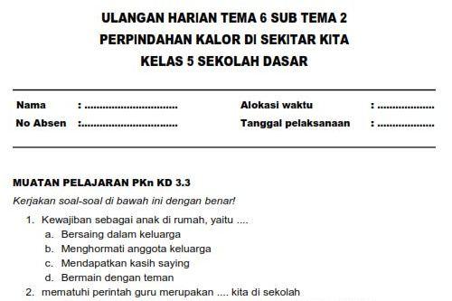 Soal Ulangan Harian Kelas 5 SD Tema 6 Subtema 2