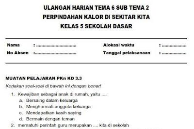 File Pendidikan Soal Ulangan Harian Kelas 5 SD Tema 6 Subtema 2
