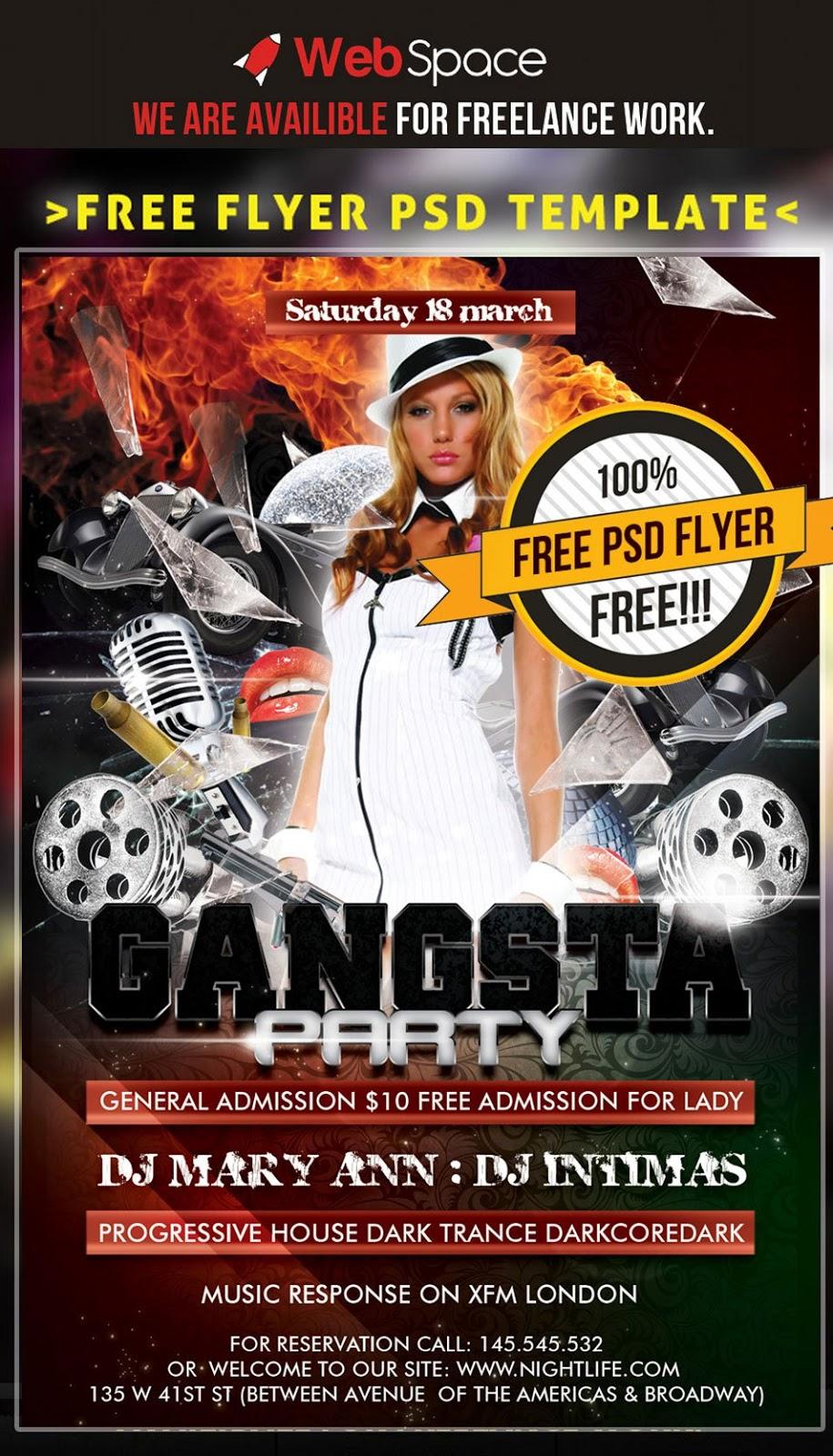 Free Flyer Gangsta Party Template PSD