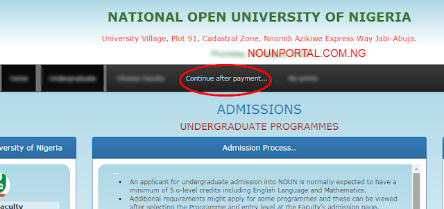 CONTINUE AFTER PAYMENT OF NOUN ADMISSION FORM