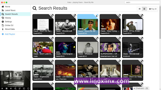 Kaku, Youtube, Vimeo & Soundcloud desktop music player app for Linux, Mac OSX and Windows 7, 8, 10