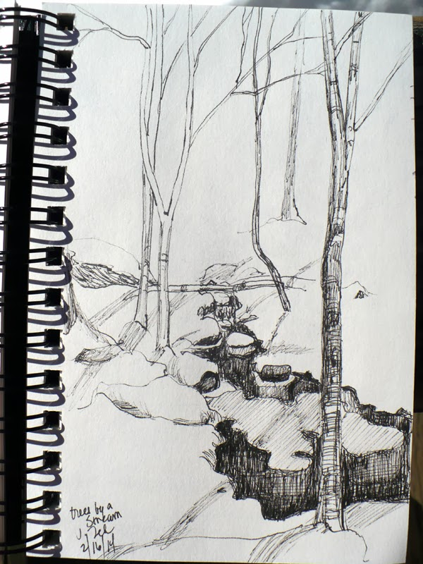 Trees by a stream in winter pen and ink sketch