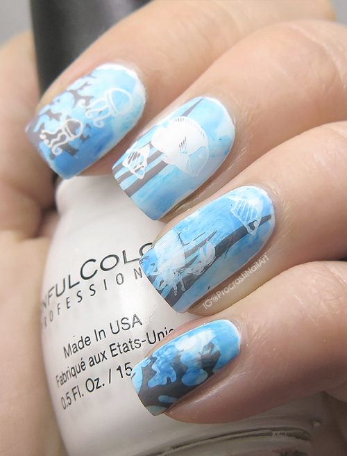Nail Art Blue For 31dc2016 Underwater Stamped Seascape