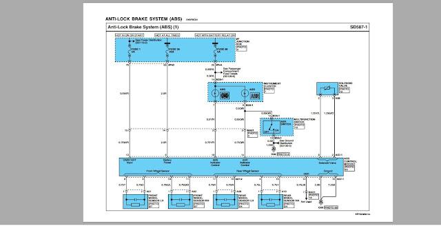 Sơ đồ mạch điện ABS của động cơ Hyundai D6CC