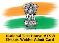 National Test House MTS  Electric Welder  Admit  Card