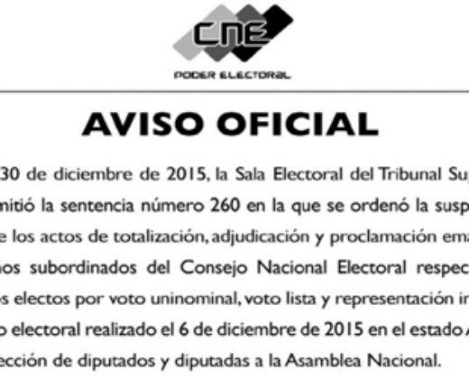 CNE reitera suspensión de proclamación de diputados de Amazonas