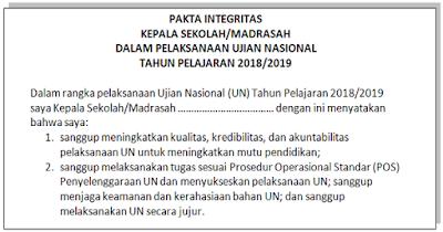 Download Pakta Integritas UN/UNBK 2019 DOC (WORD)