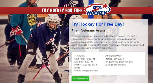 Franklin Youth Hockey - Try Hockey for Free - Saturday, Nov 12