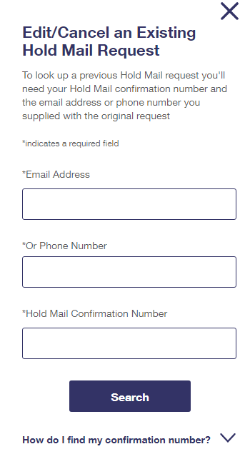 Hold MAIL USPS Edit Requests in Detail