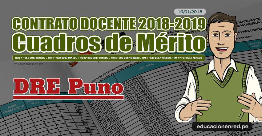 DRE Puno: Cuadros de Mérito Contrato Docente 2018 - 2019 (.PDF) www.drepuno.gob.pe