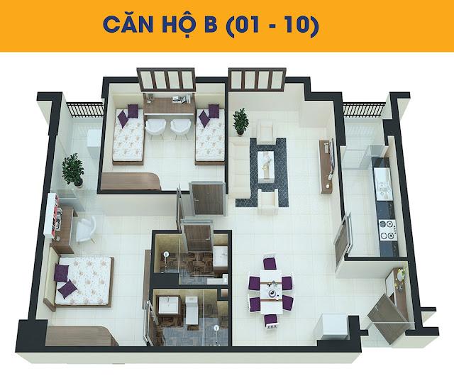 Thiết kế căn hộ 2 phòng ngủ loại B tòa C2