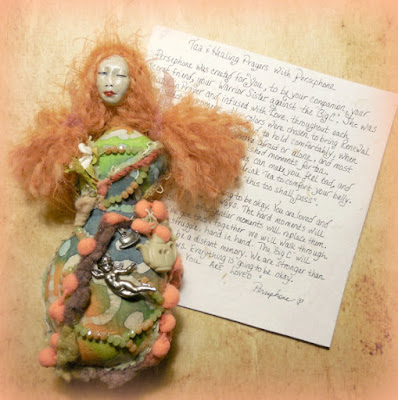 Tea and Healing Prayers with Persephone Spirit Doll for the Big C Cancer Warrior